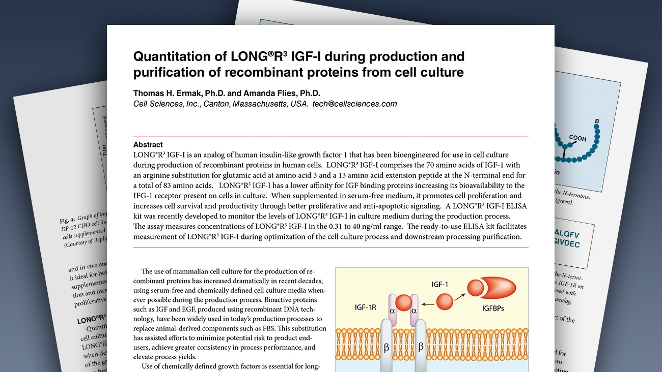White Paper Aids Researchers in Quantitation of LONG(R)R3 IGF-I During Production and Purification of Recombinant Proteins
